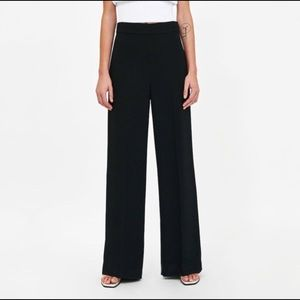 Zara high waisted flared wide pants black pockets